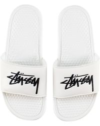 Nike X Stussy Benassi Slide 'sail/black' [dc5239-100] - White