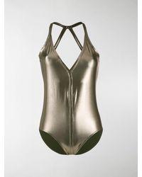 Rick Owens Metallic Effect Swimsuit - Green