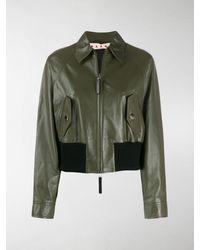 Marni Leather Bomber Jacket - Green
