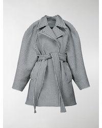 Balenciaga Houndstooth Check Belted Coat - Grey