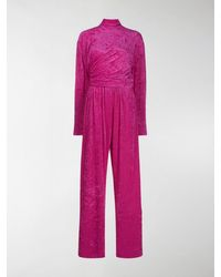 Balenciaga Textured Wrap Style Jumpsuit - Pink