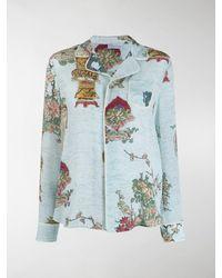 RED Valentino Floral Print Pyjama Shirt - Blue