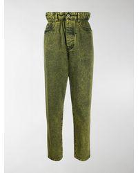Miu Miu Marbleised Overdyed Denim Jeans - Yellow