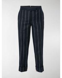 Thom Browne Vertical Stripe Cropped Pants - Blue