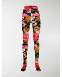 Richard Quinn Rose-print Velvet leggings - Black