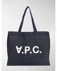 A.P.C. - Logo Print Shopper Tote - Lyst