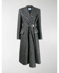 Prada Herringbone Weave Belted Coat - Black