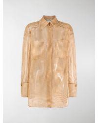 Fendi Sheer Chequered Long-sleeve Shirt - Yellow