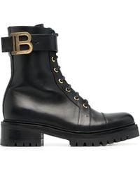 Balmain Ranger Leather Combat Boots - Black