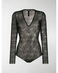 DSquared² Sheer Lace Bodysuit - Black