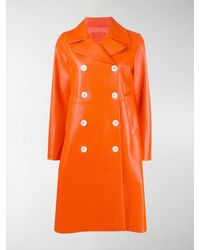 Prada Double-breasted Leather Coat - Orange
