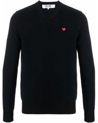 COMME DES GARÇONS PLAY Logo-patch Wool Jumper - Black