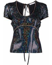 Saks Potts Metallic-effect U-neck T-shirt - Black