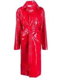 Balenciaga Cappotto In Vinile Con Cintura - Rosso