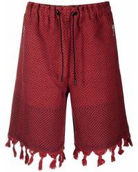 Marine Serre Moon Salutation Jacquard-Shorts - Rot