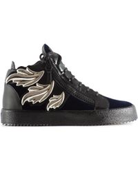 Giuseppe Zanotti - Embellished Velvet And Leather Sneakers - Lyst