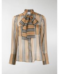 Burberry Icon Stripe Pussy-bow Blouse - Black