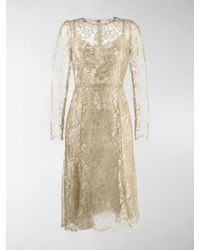 Dolce & Gabbana Lace Midi Dress - Metallic