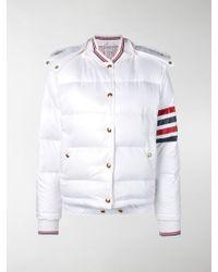 Thom Browne 4-bar Stripe Padded Bomber Jacket - White