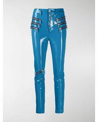 Unravel Project Triple Zip Latex Trousers - Blue