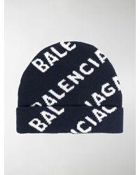 Balenciaga Cappello Beanie In Lana A Intarsio - Blu