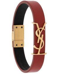 Saint Laurent Goldfarbenes Armband Aus Lackleder - Rot
