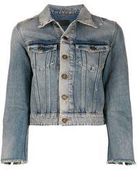 Saint Laurent Jeansjacke mit Stone-Wash-Effekt - Blau