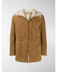 Saint Laurent Shearling Collar Coat - Multicolour