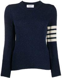 Thom Browne 4-bar Shetland Wool Jumper - Blue