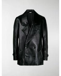 Comme des Garçons Double-breasted Faux-leather Coat - Black