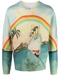 CASABLANCA Pullover mit Regenbogen-Print - Blau
