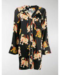 Kirin Tiger Print Shirt Dress - Black