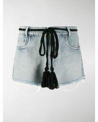 Miu Miu Tassel Tie Waist Denim Shorts - Blue