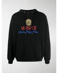 Versace Logo Hoodie T-shirt - Black
