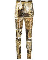 Versace Barocco-print Skinny Pants - Metallic
