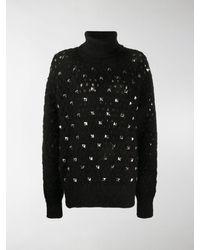 Junya Watanabe Open Knit Jumper With Rockstud Detailing - Black