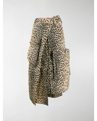 Jacquemus Deconstructed Button-front Animal-print Midi Skirt - Multicolour