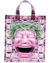 Comme des Garçons Transparenter Shopper mit grafischem Print - Lila