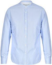 Officine Generale Gaspard Striped Cotton Shirt - Blue