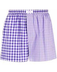 ERL Gingham-print Cotton Boxers - Purple