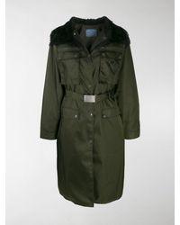 Prada Long Belted Coat - Green