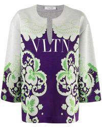Valentino Sweatshirt mit Blumen-Print - Grau