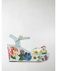 Dolce & Gabbana Floral-print Wedge Sandals - Blue