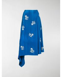 Erdem Floral-embroidered Wrap Skirt - Blue