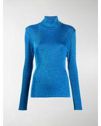 MM6 by Maison Martin Margiela Lurex Roll-neck Sweater - Blue
