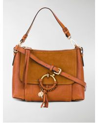 See By Chloé Joan Shoulder Bag In Caramello Grained Leather And Suede - Brown