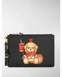 Moschino Roman Teddy Bear Clutch Bag - Black