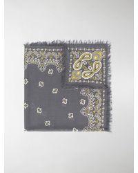 Destin Paisley-print Frayed Scarf - Gray