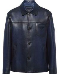 Prada Waxed-effect Single-breasted Jacket - Blue