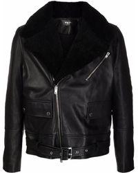 Amiri - Shearling Collar Leather Jacket - Lyst